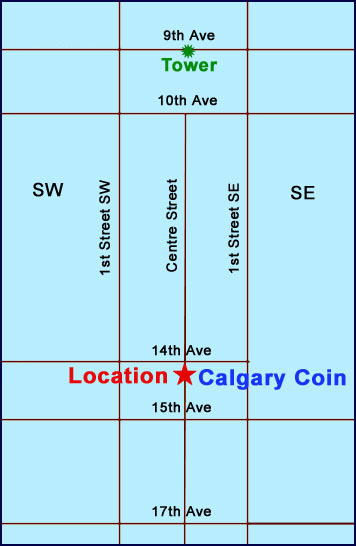 Map showing location of Calgary Coin