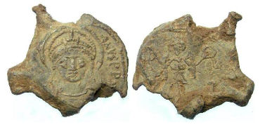 Byzantine. Justinian I, AD 527 to 565. Lead seal impression.
