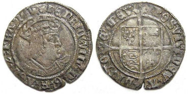 English, Henry VIII, AD 1509 to 1547. Silver groat.