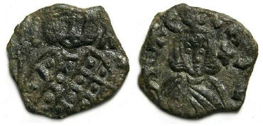 Leo V (the Armenian) and Constantine, AD 813 to 820. AE follis.