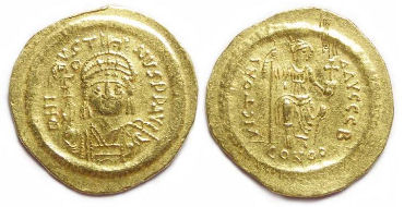 Byzantine. Justin II. AD 565 to 578. Gold solidus.